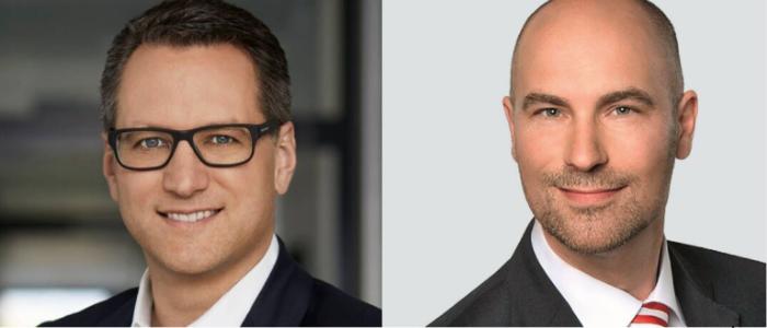 Vorstandsvorsitzender der JDC-Gruppe Sebastian Grabmaier (li.) und der für den Investmentbereich zuständige Vorstand von Jung, DMS & Cie. Oliver Lang. Lang ist ab sofort auch Geschäftsführer des frisch übernommenen Maklerpools Komm.